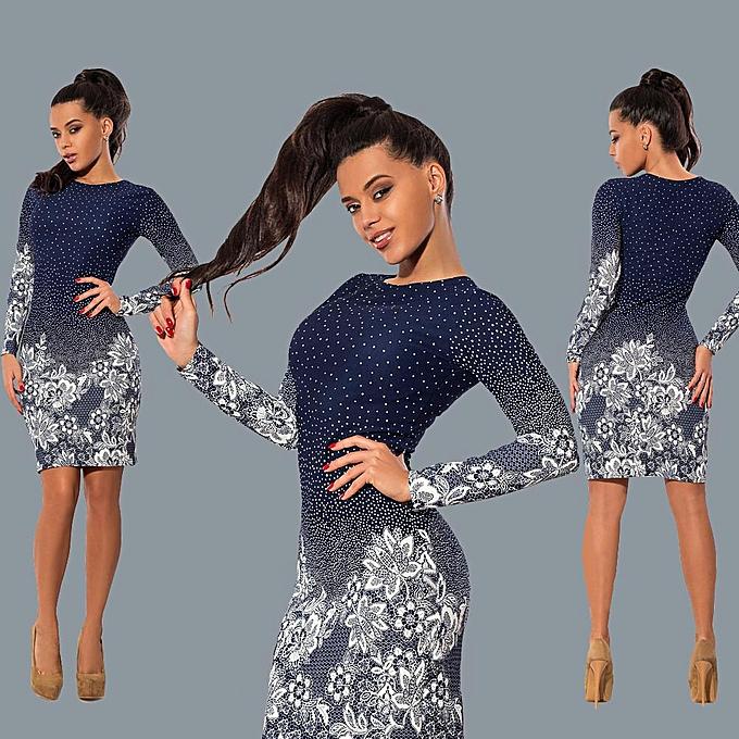 5647a002031f Women Dress Polka Dot Floral Print Round Neck Long Sleeve Bodycon Mini  Night Club Party One