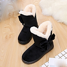Xiuxingzi_Bowknot Warm Women Flats Shoes Snow Women Boots Autumn Winter Shoes Fashion BK/D