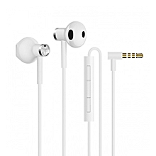 Dual Drivers In-ear Earphone with Microphone Line Control - White