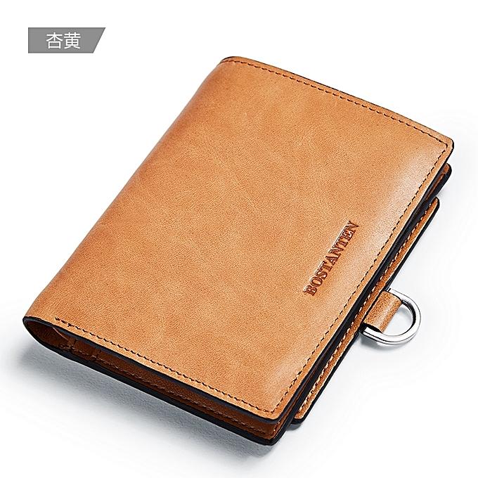 82676f07c0da 【Apricot yellow】Boston Springs 2018 new ultra-thin men's short leather  wallet Korean retro leather wallet multi-card youth men's ticket holder