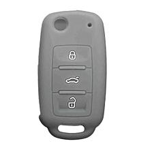Silicone 3 Button Flip Remote Key Case Fob Cover Holder For VW Golf Bora (Gray)