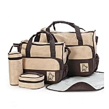 Baby Shoulder  Diaper Bag, Multi Pockets Waterproof Nappy Bag For Travel, Large Capacity and Stylish-Beige/Brown