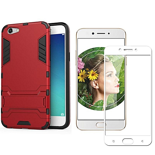 save off fb9d4 da090 For OPPO A77/OPPO F3 PC+TPU+UV Hybrid Phone Case+HD Full Coverage Tempered  Glass(White/Amor Rugged Shockproof Built-in Stand Protective Back Cover ...