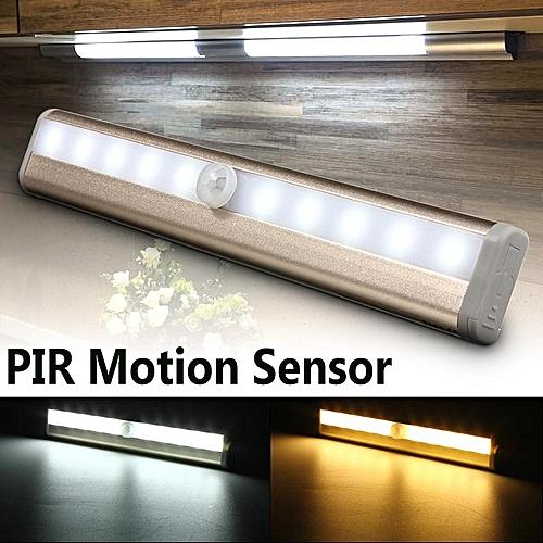 10LED Strip Light Auto Switch Cabinet Wardrobe Stairway Drawer PIR Motion Sensor Pure White