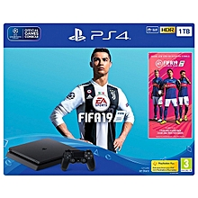 PS4 Console Slim 1TB Black + FIFA 19 Bundle
