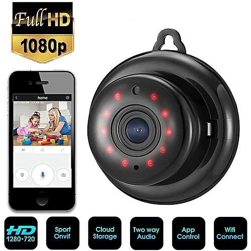 Lightweight V380 1080P HD Night Vision Network Camera Wifi Mini Camera  (Black) WKMALL