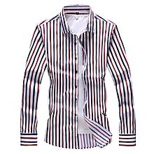 Stripe Mens Shirts  Long Sleeve Shirts (Red&Blue)