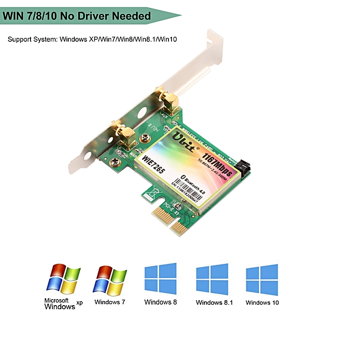 Bluetooth WiFi Card AC 1200Mbps 7265 Wireless WiFi PCIe Network Adapter  Card 5GHz/2 4GHz Dual Band PCI Express Network Card( )