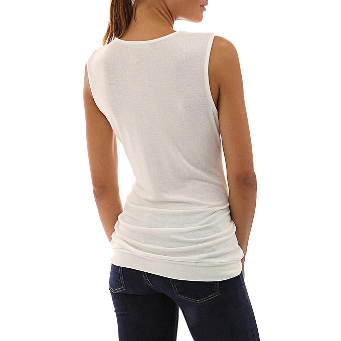 6672b9df8 Hiamok Womens Slim V Neck Button T Shirt Ladies Sleeveless Tops Shirt  Blouse Tee