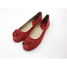 Red Closed Toe Women's Doll Shoes.