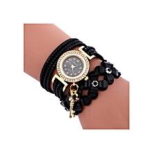 Henoesty Fashion Chimes Diamond Leather Bracelet Lady Womans Wrist Watch Black