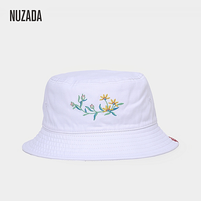 15571e24ced Cotton Bennie Double-Sided Bucket Hat Women Outdoor Folding Embroidered  Fisherman Cap White