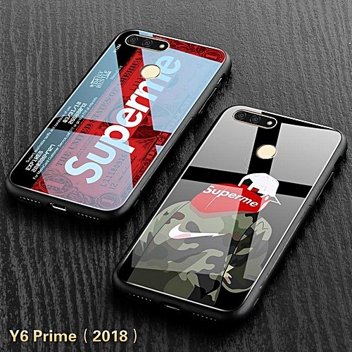 designer fashion 1ba47 62d1b Huawei Y6 Prime 2018 Glass Case Supreme Design Full Coverage Tempered Glass  Casing For Y6 Prime Shell Cover