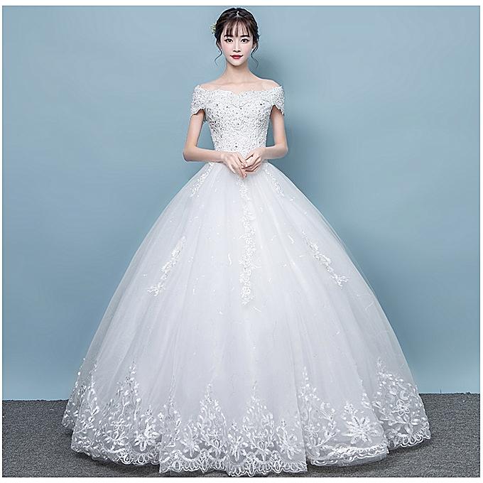 Fashion Women's Wedding Dress-White @ Best Price