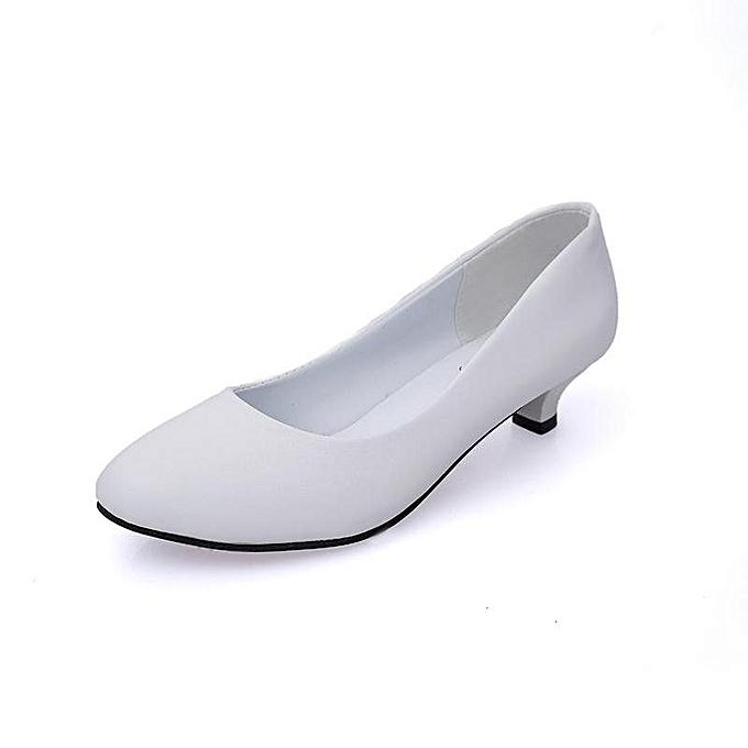 febc20c05b2 Round Toe Low Heel Women Pumps Older Spike Heels Formal Shoes (White)