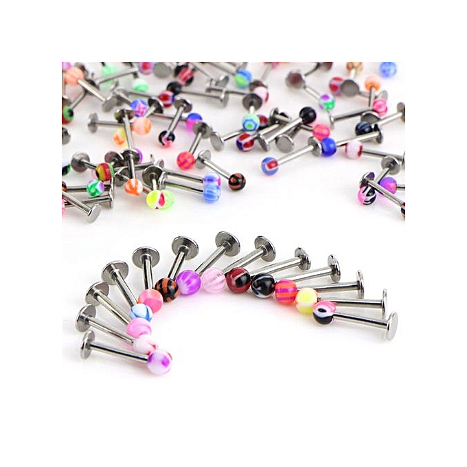7f78b8c85 10/30/50PCS 16G Ball Lip Rings Labret Bars Stainless Steel Stud Body  Piercing