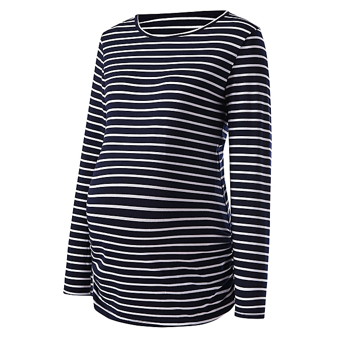 3a7b0b3dde93a ... Boapsd Shop Women Maternity Stripe Shirt Long Sleeve Basic Top T Shirt  For Pregnant Clothes ...