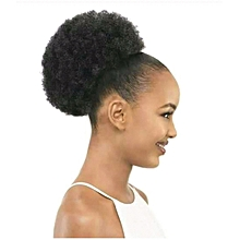 Afro-Female Fluffy Curly Synthetic Wig - Black bun