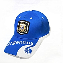 2018 Football baseball Cap letter print England Brazil Spain France Argentina Germany Fans Caps Headwear Hat - Blue