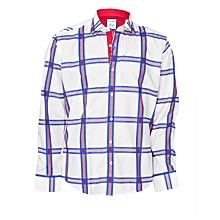 White/Blue Checked Shirt With A Maroon Pocket Square
