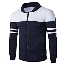 huskspo Fashion Men's Autumn Winter Zipper Sportswear Patchwork Jacket Long Sleeve Coat
