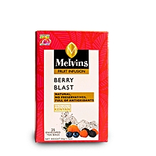 Melvins Berry Blast enveloped and tagged tea bags 50g