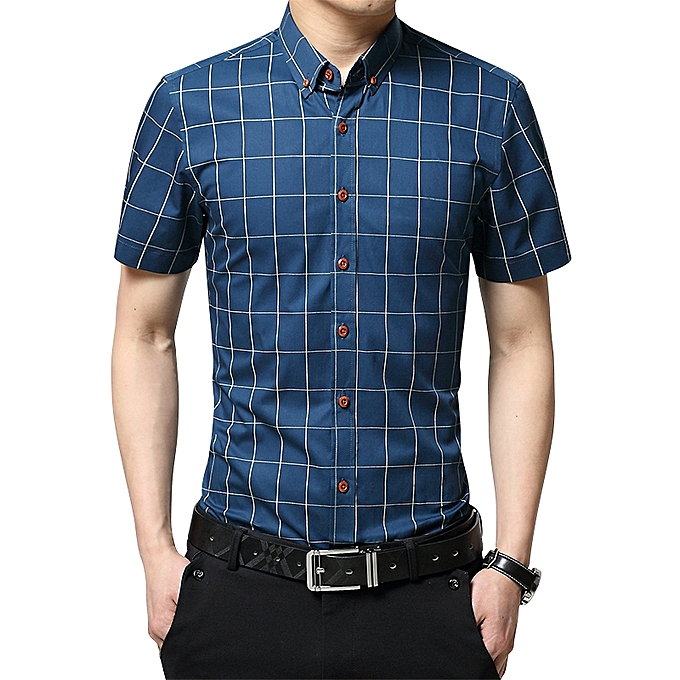 b90cf022ed1c 2019 Men s Short Sleeve Shirt Summer Business Formal Casual Plaid Checked  Top T Shirt-Lake