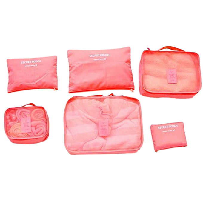 ... 6Pcs Waterproof Travel Storage Bags Packing Cube Clothes Pouch Luggage Organizer - Watermelon Red ...