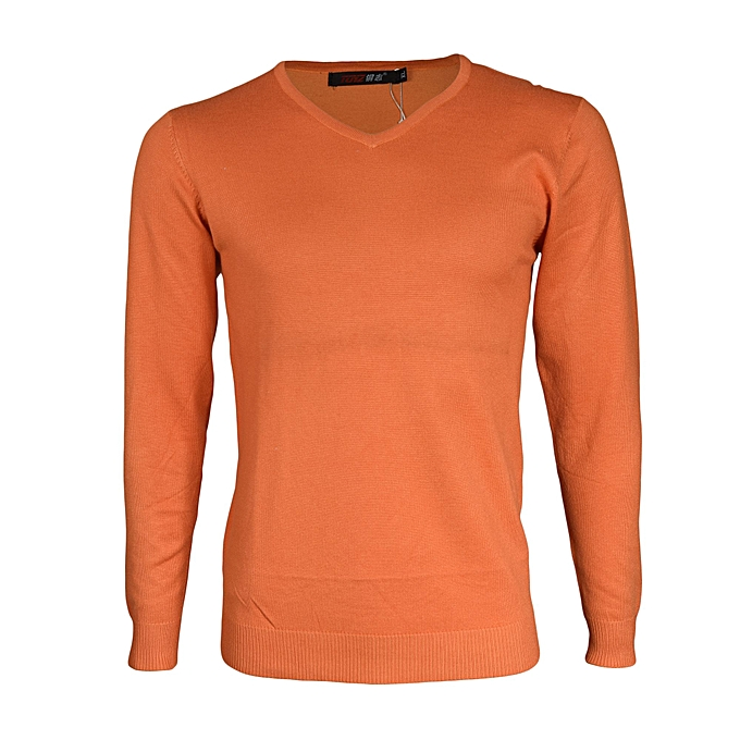 Generic V-Neck Orange Plain Sweater   Best Price  1ab127f29a18