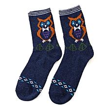 Men Women Owl Pattern Warm Soft Socks Multi-color Soft Middle Tube Socks