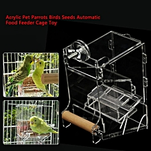 1Pc Acrylic Pet Parrots Birds Seeds Automatic Food Feeder Cage Toy Transparent S