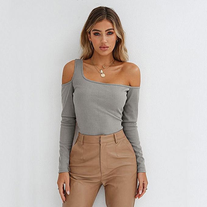 cbc6a79922cf0 Sexy Women Ribbed Knit T-Shirt Cutout Off Shoulder Long Sleeve Autumn  Winter Slim Tops