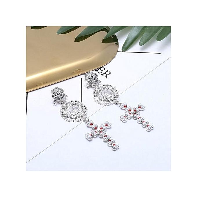 Attractive Chic Artificial Diamond Ear Clip Jewelry Tel Stud Earrings Silver