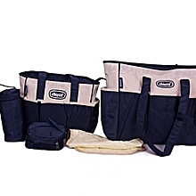 5 Piece Diaper Bag- Beige & Navy Blue