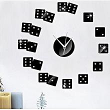 Creative Poker Wall Clock Sticker-Black