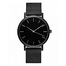 Lover's Quartz Analog Wrist Delicate Metal Mesh Watch Luxury Business Watches-Black