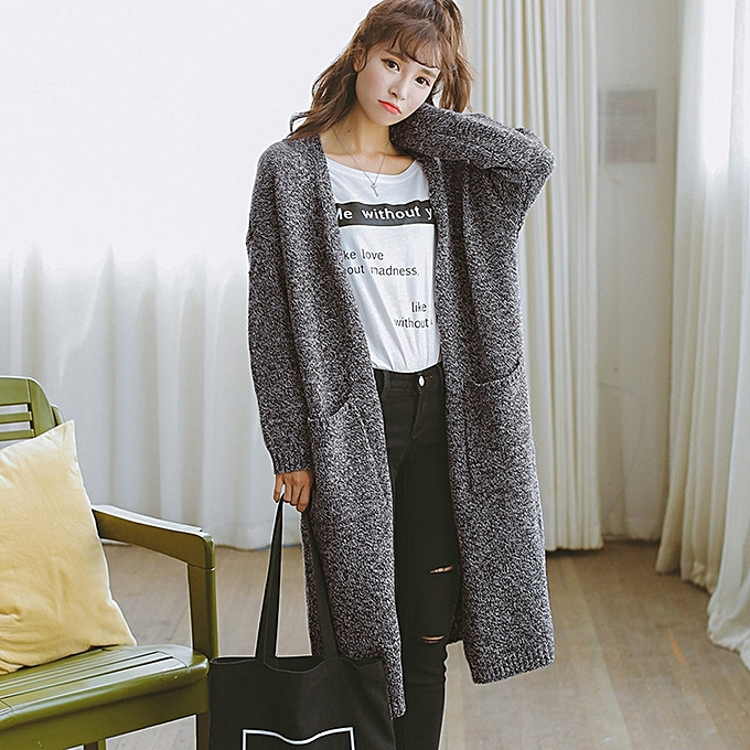 fc3bbd385fd4 jiuhap store Women Long Sleeve Oversized Loose Knitted Sweater Cardigan  Outwear Coat DG-Dark gray