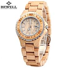 BEWELL ZS-100BL Wooden Women Quartz Watch with Hands Metal Case 30M Water Resistance Wristwatch
