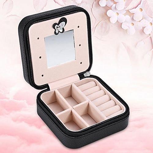 fe1499621d53 Mini Jewelry Box PU Zipper Travel Earrings Necklace Ring Storage Case  Casket Eiffel Tower Black