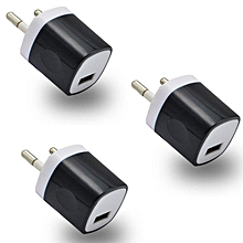 3Pcs USB Power Adapter EU Plug Wall Travel Charger for oneplus 3 for Samsung S7-Black