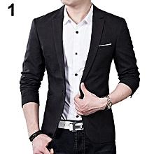 Men's Slim Formal Business Suit Coat One Button Lapel Long Sleeve Pockets Top-Black
