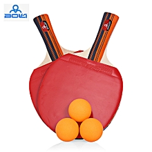 A09 2pcs/Set Outdoor Table Tennis Rubber Ping Pong Training Racket with Ball - Red