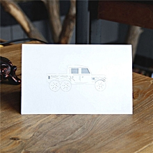 Greeting Card Three-dimensional 3D Paper-cut Kajipu Car Creative white