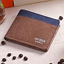 Canvas Men's Wallet Men's Short Wallet Korean Retro Student Coin Purse Card Pack-brown