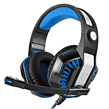 GM-2 Stereo Bass Gaming Wired Headphone with Microphone & LED Light, for PS4, Smartphone, Tablet, PC, Notebook(Blue)