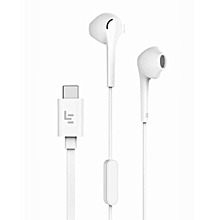 Lightweight Stereo Bass Type-C HIFI In-Ear Earphone for Letv LeEco CDLA white