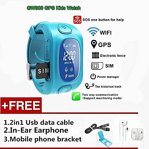 Y3 GPS smartwatch Support SIM card for Android & IOS Y3 Smart Watch GPS  Tracker Watch Children Watch (Blue) XJMALL