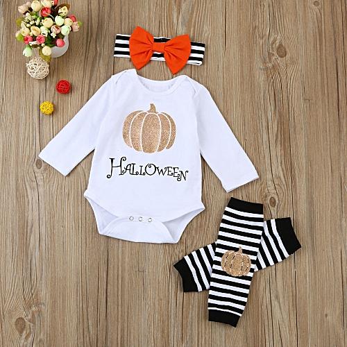 baby boys girls halloween pumpkin long sleeve romper leg warmers outfit set