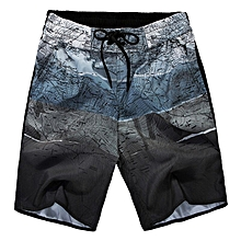 fashion brand large size casual shorts men's thin printed baggy casual male cotton elastic waist shorts for-black