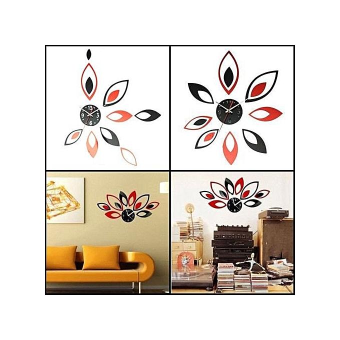 ... Modern Flower Mirror Wall Clock Sticker Home Office Time DIYFashion Decoration Black Red ...